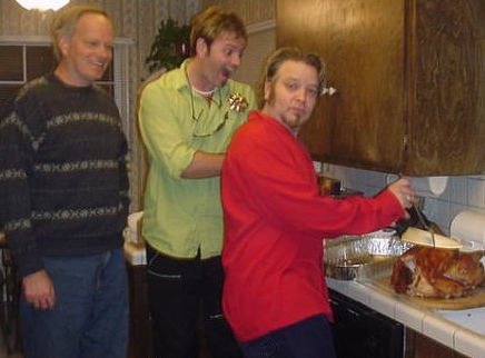 Tim Gula, Robert Sexton, and your host getting crazy over a Christmas turkey in Los Angeles 2002